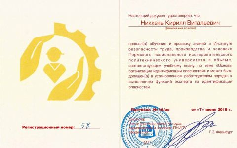 Удостоверение - идентификация опасностей (Никкель К.В.)